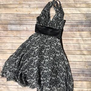 Dresses & Skirts - Halter tuxedo cumberbund silk cocktail dress